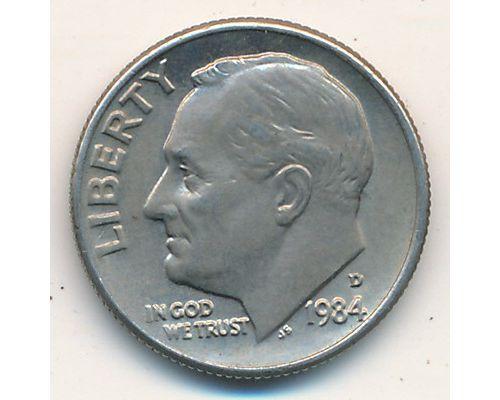 1 дайм 10 центов 1984 D года США