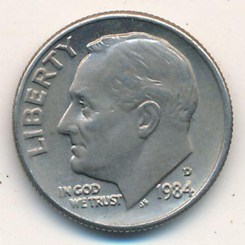 1 дайм 10 центов 1984 D года. США