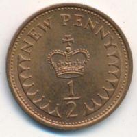1/2 нового пенни (1971–1981 г) Великобритания