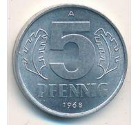 5 пфеннигов (1968–1990 г.) ГДР. Германия.