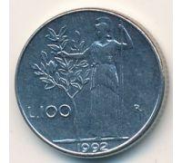 100 лир 1992 год Италия Маленькая