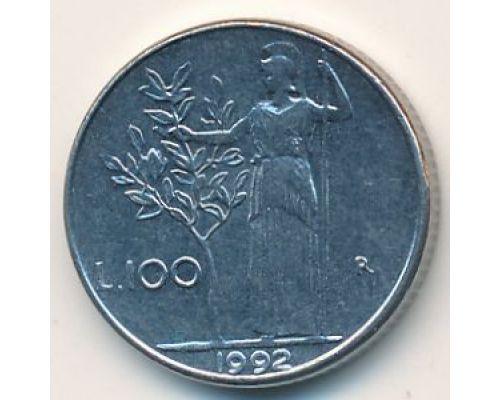100 лир 1992 год. Италия. Маленькая