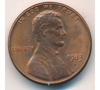 1 цент 1983 D года США Америка