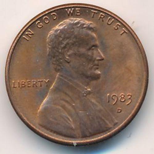 1 цент 1983 D года. США. Америка