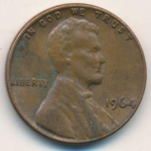 1 цент 1964 года. США. Америка