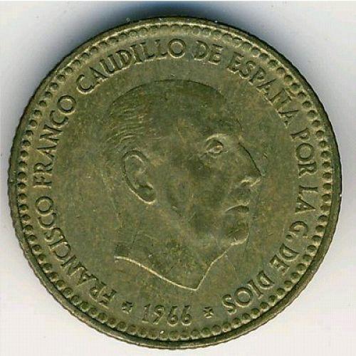 1 песета 1966 год. Испания