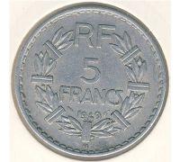5 франков 1949 год Франция СОстояние XF