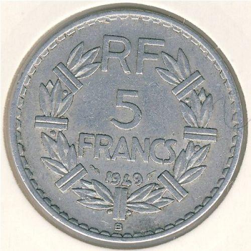 5 франков 1949 год Франция. СОстояние XF