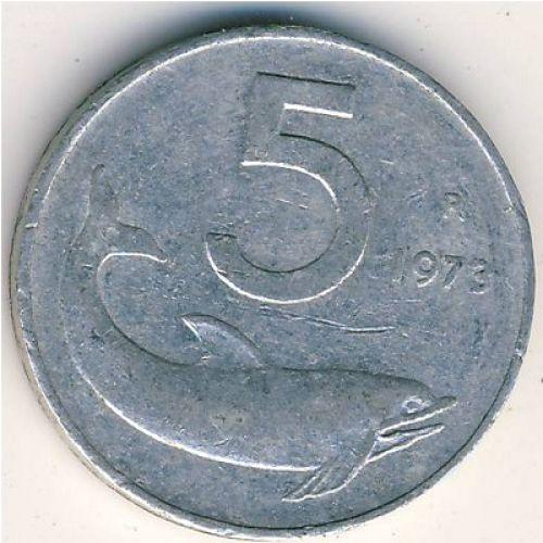 5 лир 1973 года Италия .