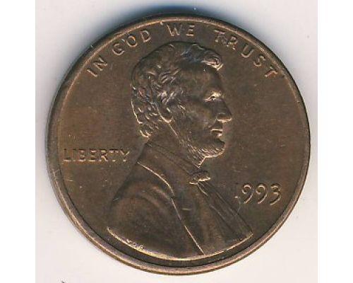 1 цент 1993 года США Америка