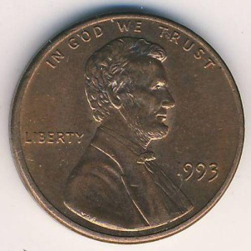 1 цент 1993 года США. Знаменитый пшеничный цент Америки, с изображением Линкольна