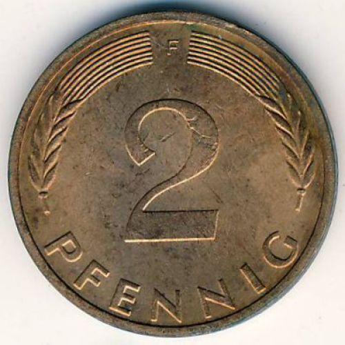 2 пфеннига (1968–2001 г.) ФРГ. Германия