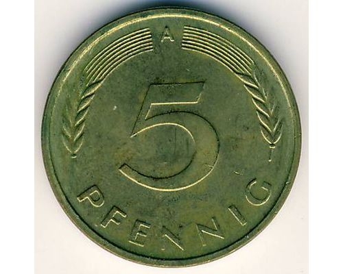 5 пфеннигов 1950-2001 год  A Германия