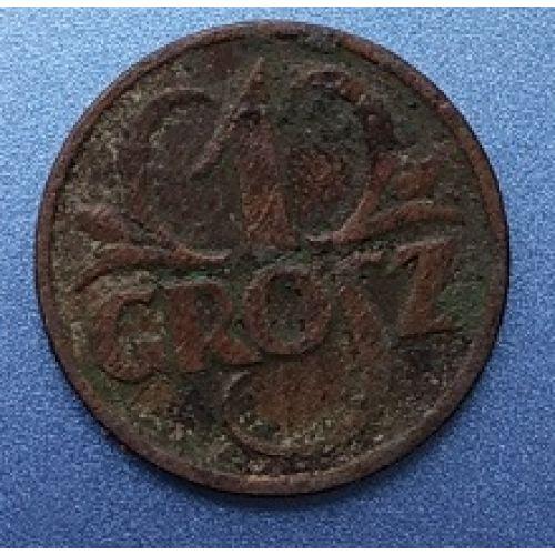 1 грош 1927. Польша. Редкий