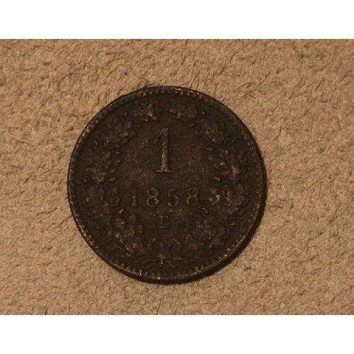 1 крейцер 1858 года. E. Австрия Редкий