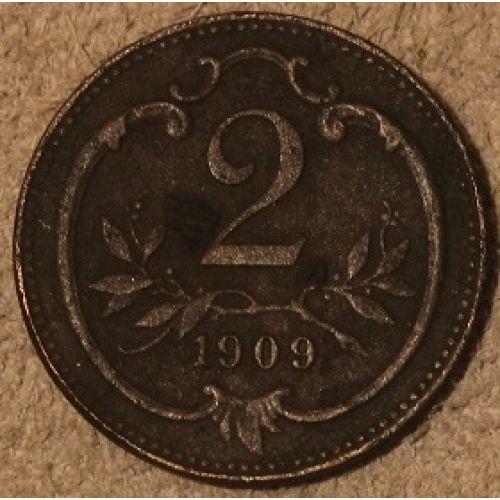 2 геллера 1909 года. Австрия (2)