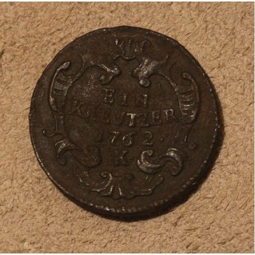 1 крейцер 1762 года. К. Австрия (2)