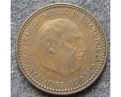 1 песета 1953 год Испания