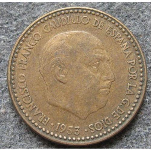 1 песета 1953 год. Испания