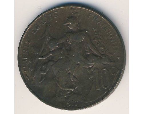 10 сентим 1917 год Франция (сантим)