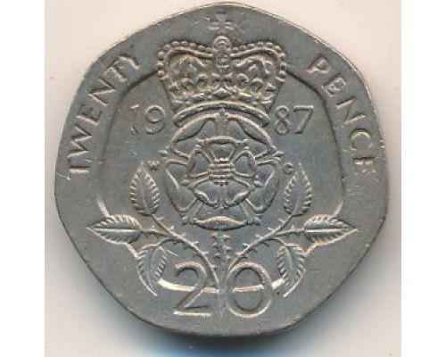 20 пенсов 1987 год Великобритания Корона на розе Елизавета II