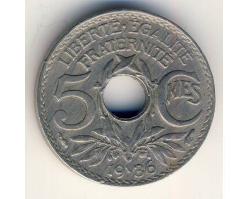 5 сентим 1936 год Франция (сантим)