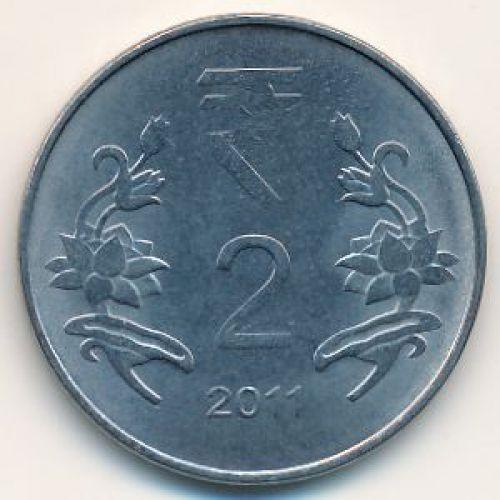 2 рупии 2011 год. Индия