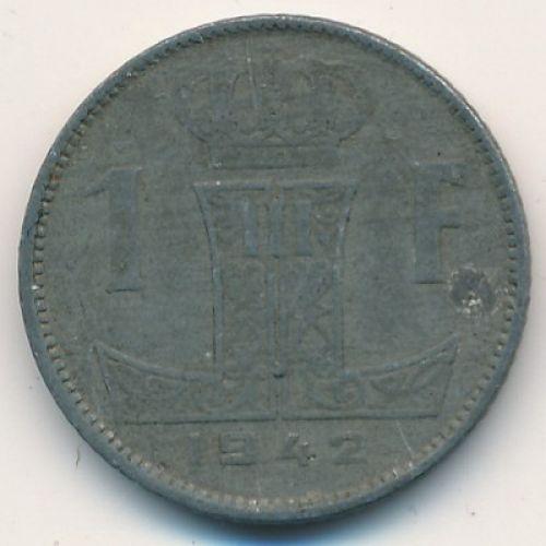 1 франк 1942 год Бельгия. Немецкая Оккупация