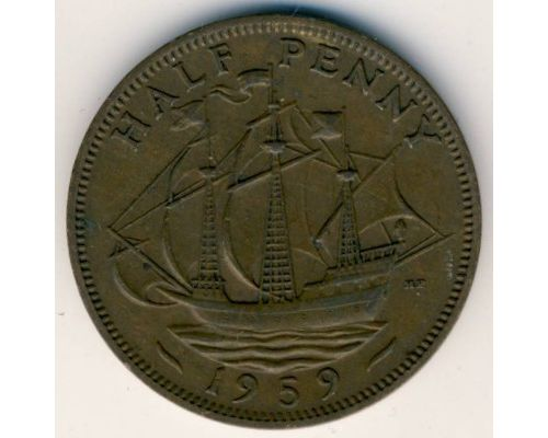 1/2 пенни 1959 год Великобритания Пол пенни, half penny Елизавета II