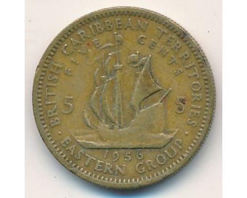 5 центов 1956 год Восточные Карибы Парусник