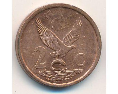 2 цента 1999 год ЮАР Орел с рыбой