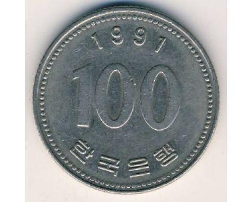 100 вон 1991 год Южная Корея Ли Сун-Син