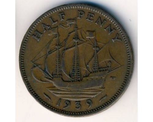 1/2 пенни 1939 год Великобритания Пол пенни, half penny Георг VI