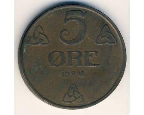 5 эре 1941 год Норвегия Бронза