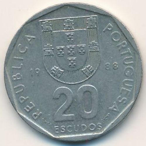 20 эскудо 1988 год. Португалия