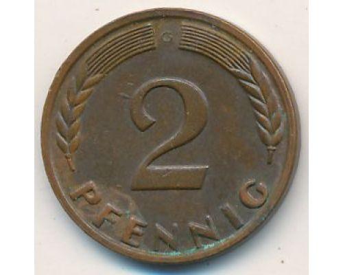 2 пфеннига 1958 ФРГ Германия