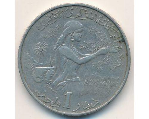1 динар 1983 год Тунис Хабиб Бургира