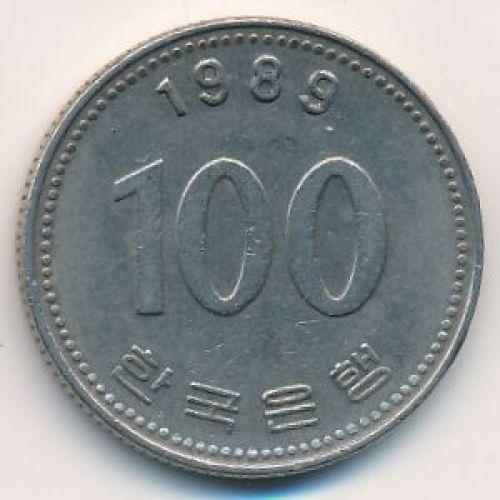 100 вон 1989 год Южная Корея. Ли Сун-Син