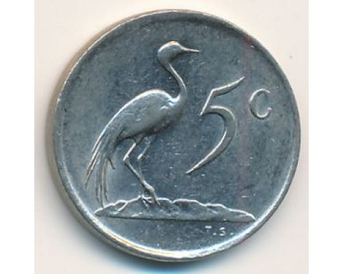 5 центов 1984 год ЮАР Журавль