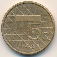 5 гульденов 1990 год Нидерланды