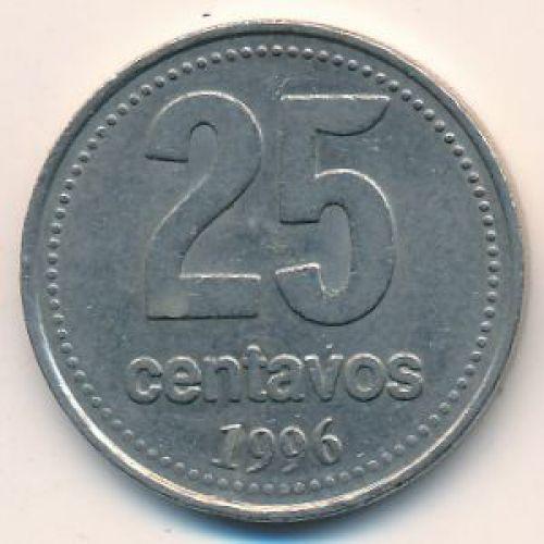 25 сентаво 1996 год. Аргентина. Медь-никель