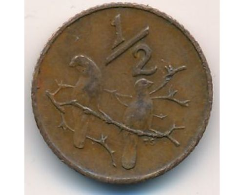 1/2 цента 1970 год ЮАР Птицы