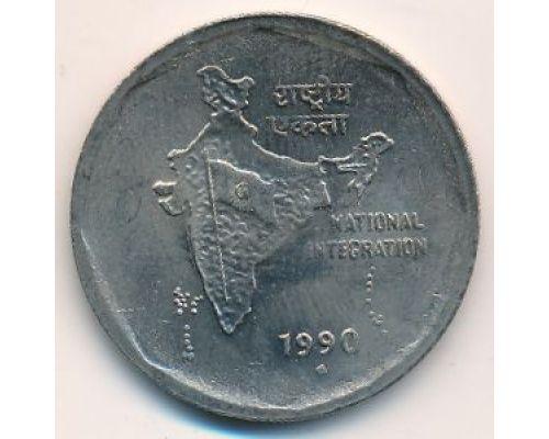 2 рупии 1990 год Индия Карта Индии