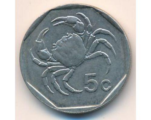 5 центов 1991 год Мальта Краб