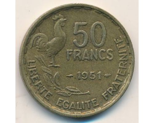50 франков 1951 год Франция Петух