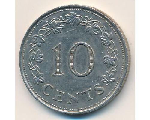 10 центов 1972 год Мальта Корабль