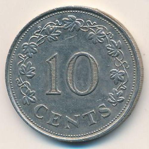 10 центов 1972 год Мальта. Корабль
