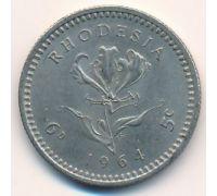 6 пенсов - 5 центов 1964 год Родезия Елизавета II