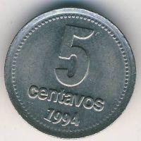 5 сентаво 1994 год Аргентина Медь-никель