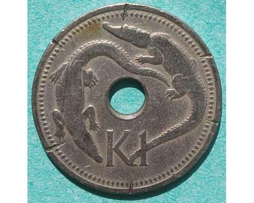 1 кина 1975 год Папуа - Новая Гвинея Крокодилы